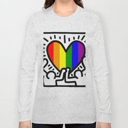 Pride heart, tribute to Keith Haring. Great LGBT gift. Long Sleeve T-shirt