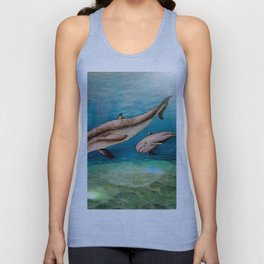 Dolphins, watercolor Unisex Tank Top