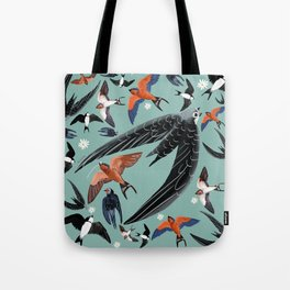 Swallows Martins and Swift pattern Turquoise Tote Bag