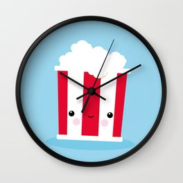 Chill Out Kawaii Popcorn – funny illustration Wall Clock