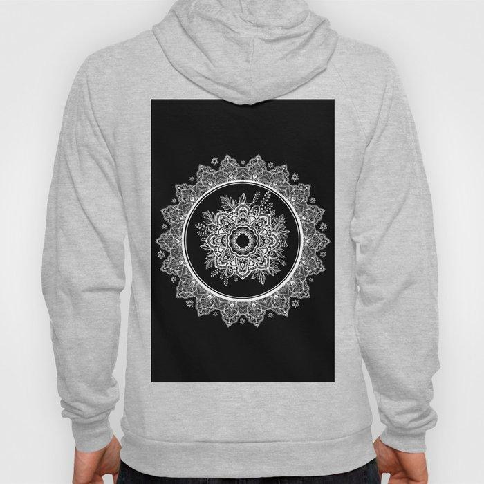 Bohemian Lace Paisley Mandala White on Black Hoody
