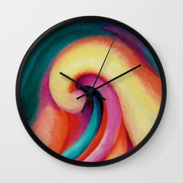 Colored Waves - Series 1, No. 3 Portrait Painting  by Georgia O'Keeffe Wall Clock