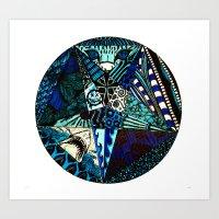 Blue Toned Pentagram Art Print