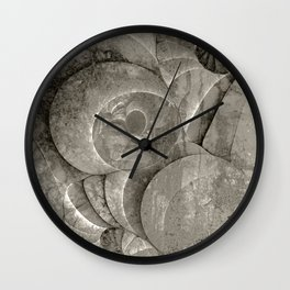 Fossilized Shells - Black & White Wall Clock