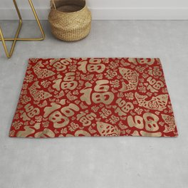 Chinese Lucky Symbols and Koi Fish - Red and Gold Rug