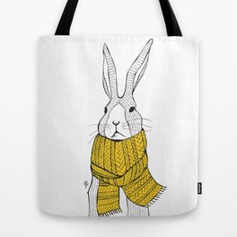 Rabbit in a yellow scarf Tote Bag