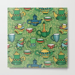 Tea green pattern Metal Print