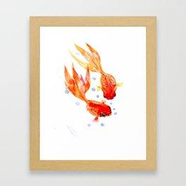 Goldfish Nursery Illustration Feng Shui Two Fish Art Framed Art Print