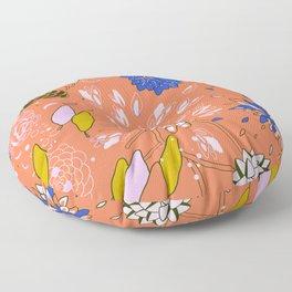 Orange Flower Pattern Floor Pillow