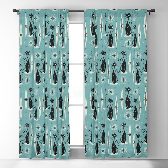 Mid Century Meow Retro Atomic Cats on Blue Blackout Curtain