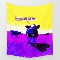 cows Wall Tapestries featuring Psychedelic Cows by Peter Gross