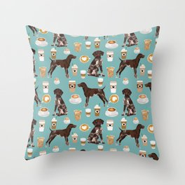 German Shorthaired Pointer Coffee Dogs - dogs and coffee, gsp, cute dog, pet, latte Throw Pillow