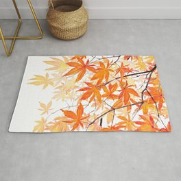 orange maple leaves watercolor Rug