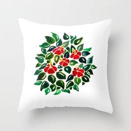Hibiscus Bush Throw Pillow