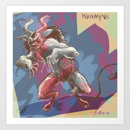 Psycho Krampus Art Print