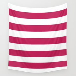 Rose red - solid color - white stripes pattern Wall Tapestry