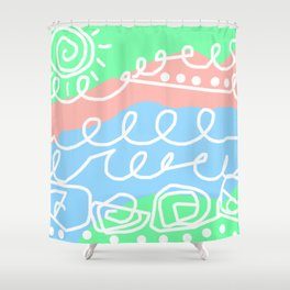 Crashing Waves - White Green Blue Shower Curtain