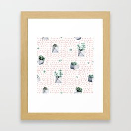 Cactus Pattern 01 Framed Art Print