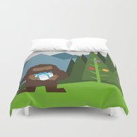 bigfoot Duvet Covers featuring It's a Bigfoot Christmas! by Grizzly Good