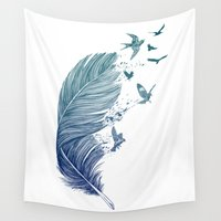 fly Wall Tapestries featuring Fly Away by Rachel Caldwell