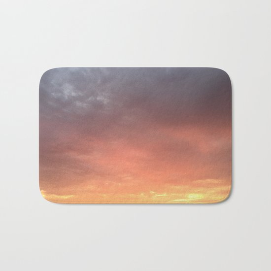 Yellow Red and Gray Sky Bath Mat