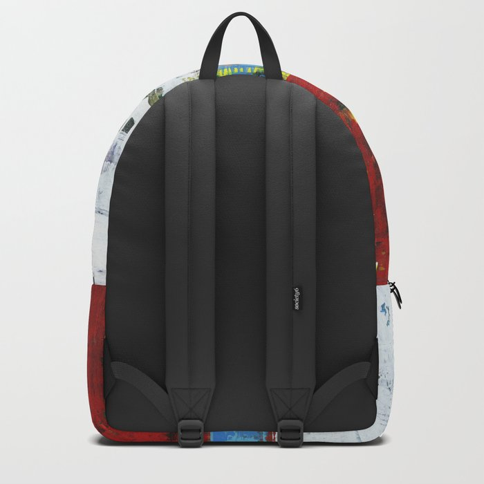 Folly Bright Red White Modern Art Abstract Painting Backpack