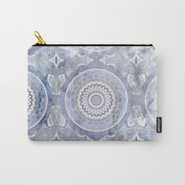 Blue Watercolor Mandala Painting with Word Balance Carry-All Pouch
