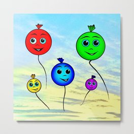 Happy colorful balloons flying in the sky Metal Print