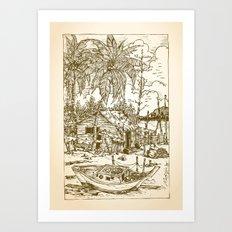 Malay Fishing Village Art Print