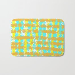 painting lines background in orange yellow and blue Bath Mat