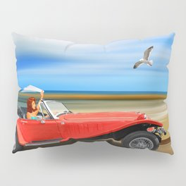Pin-Up Girl on the road to the beach Pillow Sham