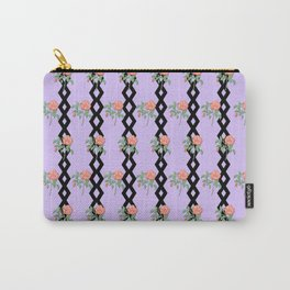Stem Rose Watercolor Pattern Lavender Carry-All Pouch