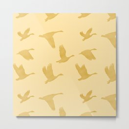 Flying Birds Pattern | Golden Mood Metal Print