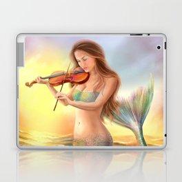 Beautiful woman fantasy mermaid plays on violin on sunset Laptop & iPad Skin