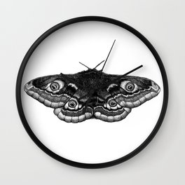 Moth Dotwork Drawing Wall Clock