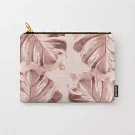 Rose Gold Monstera Leaves on Blush Pink Carry-All Pouch