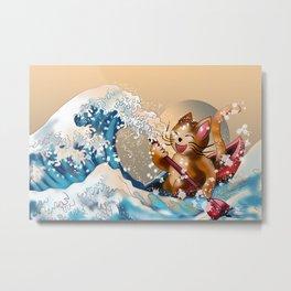 Cat in a kayak in the wave off Kanagawa Metal Print