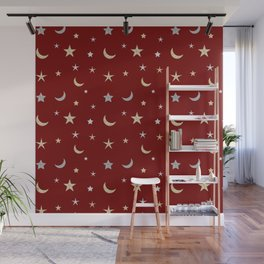 Gold and silver moon and star pattern on red background Wall Mural