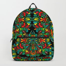 Green red orange pattern Backpack