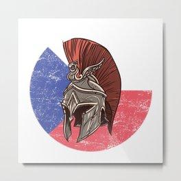 Czech Spartan  TShirt Warrior Shirt Flag Gift Idea Metal Print