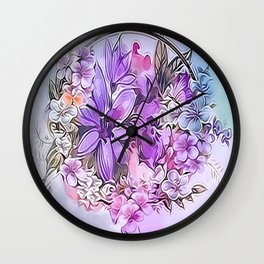 Painterly Violet Floral Abstract Wall Clock