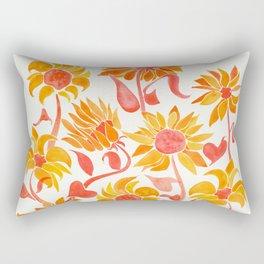 Sunflower Watercolor – Fiery Palette Rectangular Pillow