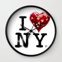 banksy Wall Clocks featuring Banksy * I Love New York by The Invisible Shop