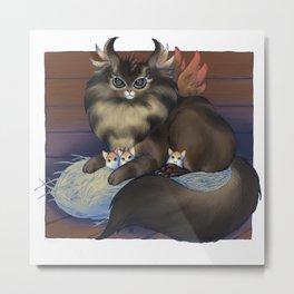 Hen-Cat Metal Print