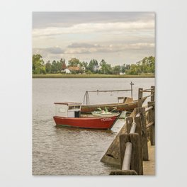 Fishing Boats at Santa Lucia River in Montevideo, Uruguay Canvas Print
