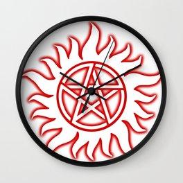 Anti Possession Sigil Red Glow Transp Wall Clock