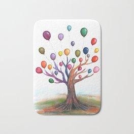 Balloon Tree Watercolor Bath Mat