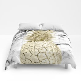 Rose Gold Pineapple Surprise on Simply Marble Comforters