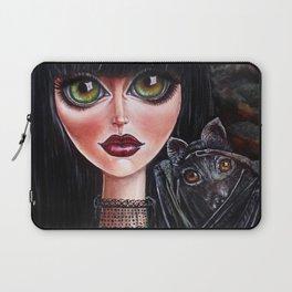 Batgirl Victorian Goth Girl with Grey Bat Big Green Eyes Laptop Sleeve