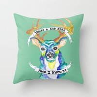 bad idea Throw Pillows featuring Candy Hearts lyrics Bad Idea Deer by Malice In Wonderland